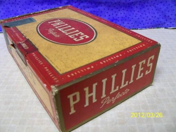 Vintage Phillies Perfecto Cigar Box, Cardboard Box, Phillies