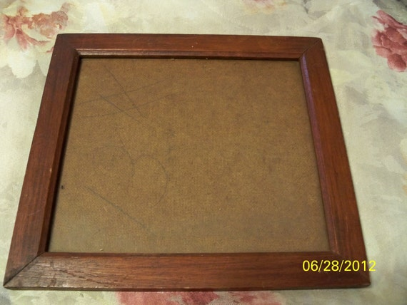 Vintage Wooden Picture Frame with Board Back - 1940's