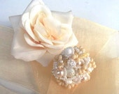 Reserved for Kim - Freeform Beaded Ring Romantic colors, Cream beige white pastel, spring fashion, unique gifts OOAK jewelry