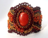 Bead embroidered cuff bracelet with red jasper- Unique gift  for her Brown terracotta burgundy gold OOAK jewelry