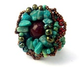 Reserved for Kim - Beaded ring. Turquoise green, teal and brown freeform ring, with turquoise green semiprecious stone