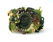 Beaded jewelry. Freeform peyote beaded cuff bracelet, with green, brown, creame beads, winter fashion, ooak,