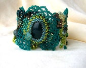 Beaded jewelry. Freeform peyote beaded cuff bracelet, with green, brown, cream, teal beads, unique gift for woman, ooak,