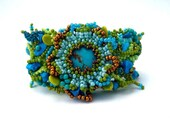 RESERVED - Beaded jewelry. Freeform Peyote Beaded Cuff Bracelet withTurquoise Blue Green Gold Colors, Spring Fashion, Unique gifts OOAK