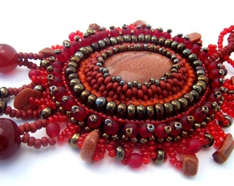 Bead embroidered pendant, Beaded jewelry, Beadwork necklace, Seed bead necklace, gifts for her