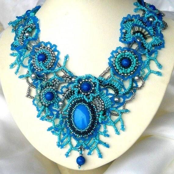 Turquoise Fantasy Freestyle FREEFORM Unique Beaded Art NECKLACE ooak beaded Jewelry free shipping