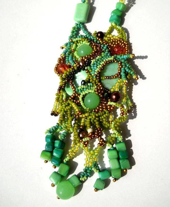 Beaded jewelry. Freeform Peyote  Beaded Necklace, green, brown and golden, ooak jewelry by Ibolya