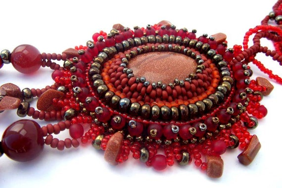 Bead embroidered pendant, Beaded jewelry, Beadwork necklace, Seed bead necklace, Unique gifts