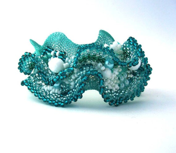 Beaded jewelry. Freeform Peyote Beaded Cuff Bracelet with Teal, Turquoise Green, Aquamarine colors, Wire lace, Unique gifts, Summer Fashion