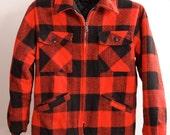 Red Black Wool Plaid Coat Jacket size Medium