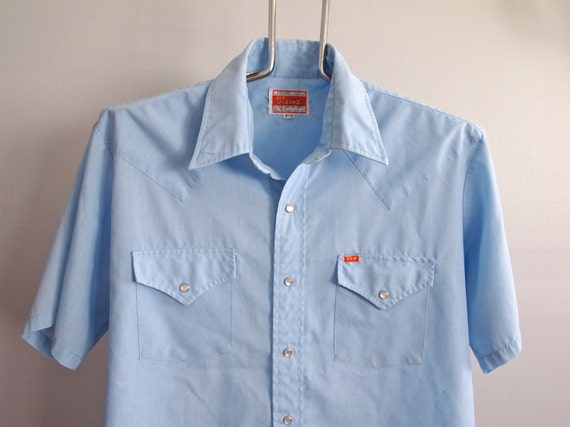 Mens Blue Ely Plains Pearl Snap Short Sleeve Western Shirt size Large 16.5 - 34
