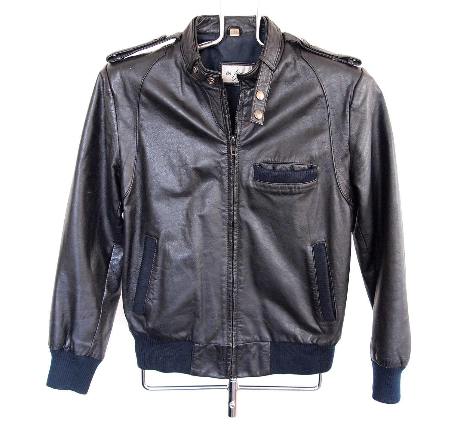Black Leather Members Only Style Jacket 36 by beachwolfvintage