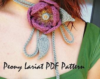 PDF Knit Flower Pattern - Peony Lariat Necklace