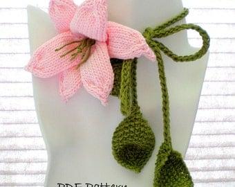 PDF Knit Flower Pattern - Flower Necklace - Lily Lariat