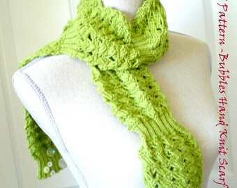 Hand Knitting PDF Pattern - Bubbles Scarf