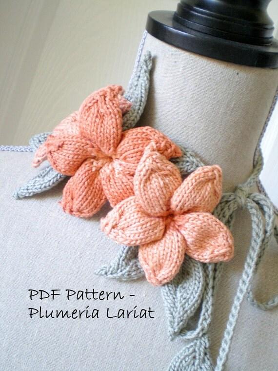 PDF Knit Flower Pattern - Plumeria Lariat, Belt/Sash, Hairpiece Headband