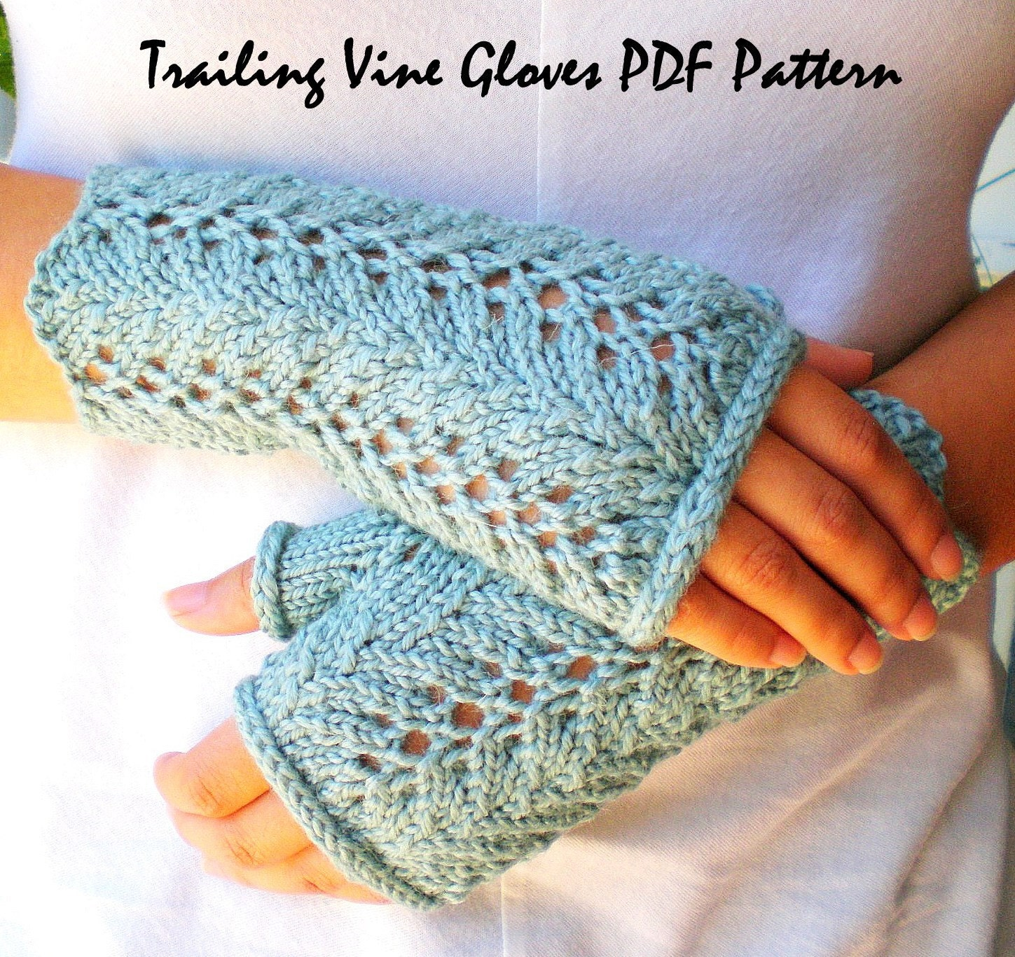 PDF Knitting Pattern Lace Fingerless Gloves Trailing Vines