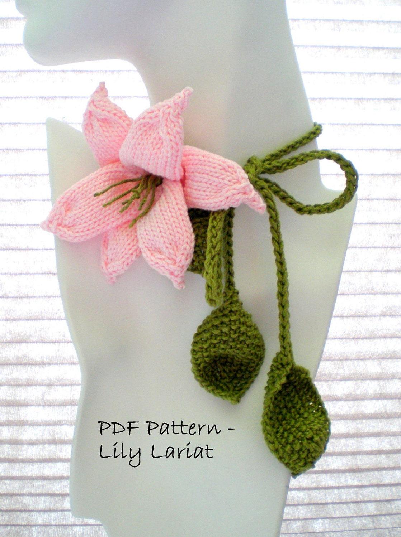 PDF Knit Flower Pattern Flower Necklace Lily Lariat