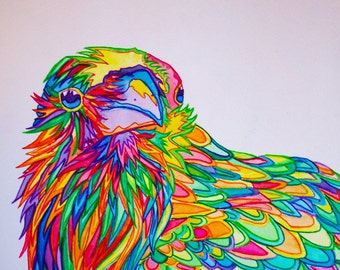 Quoth The Rainbow Print (Edgar Allan Poe Neon Raven Watercolor and Ink Painting)