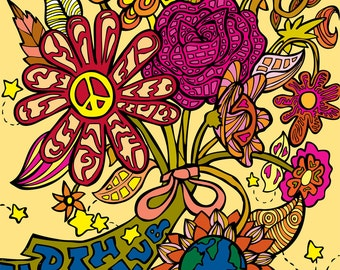 Earth Club Print (Eco Environmentalist Retro Psychedelic Flowers, Earth, Mushrooms and Stars Bouquet Vector Illustration)