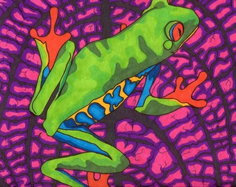 Frogadelic Print (Psychedelic Neon Rainbow Red Eyed Tree Frog in Vibrant Marker and Ink)