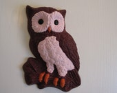Vera-the Wine & Pink Owl wall hanging, hand painted