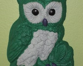 """Franklin-the Green & Grey Owl wall hanging, hand painted """"SALE"""""""