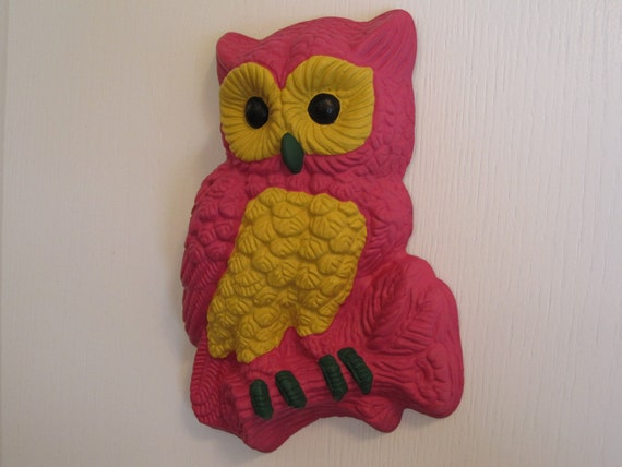 "Grady-the Pink Owl wall hanging, hand painted ""SALE"""
