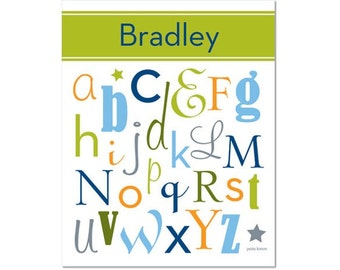 Personalized Alphabet Poster - All Mixed Up Lizard Green