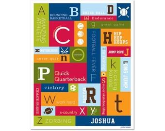 Personalized Alphabet Poster - Junior Varsity Sports