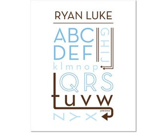 Personalized Alphabet Poster - Twists & Turns Ocean Blue