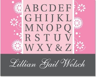 Personalized Alphabet Poster - Fancy Flowers Rosy Pink