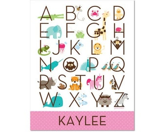 Personalized Modern Animal Alphabet Poster - Zoo Friends Tickle Me Pink