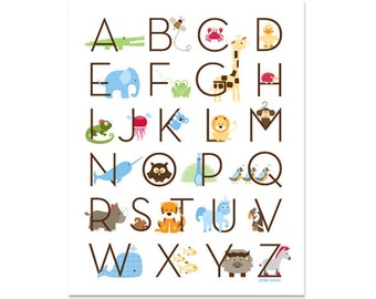 Modern Animal Alphabet Poster - Zoo Friends Ocean Blue