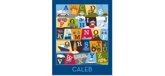 Personalized Transportation Alphabet Poster - On The Go Deep Blue