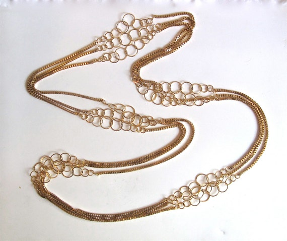 Set of  Three 53 Inch Long Golden Chains