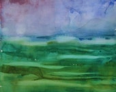 """Swept Away, Original Watercolor Painting Abstract Landscape, Large  30"""" x  22"""", Free Shipping within USA"""