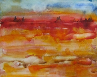 """The Source of Clarity, Original Watercolor Painting Abstract Landscape, Large  30"""" x 22"""",  Free Shipping within USA"""