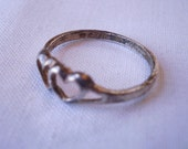 Vintage Sterling Silver Two Heart Ring