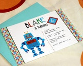 Personalized Robot Party Invitation and Thank You Card