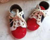 Sale Vintage Childrens  Shoes  Red White Blue Three tone  Lace-Up  Baby Child Toddler 1960's Patent Leather  Stars  Very Cool