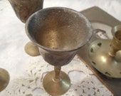 Lot of Three Vintage Brass Cordial Glasses and One Candlestick   1970's Shabby Chic  French Apartment