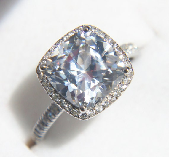 White Sapphire Halo Engagement Ring Or Right-hand Ring