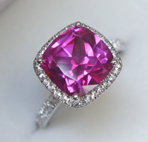 Dark lavender ruby halo engagement ring or right-hand ring