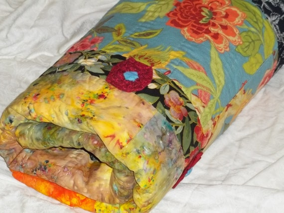 RESERVED FOR CATHY  -- Flowers Aflame Colorful Cotton Quilt