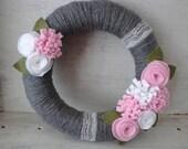 READY TO SHIP Pink and Heather Grey Yarn Wreath