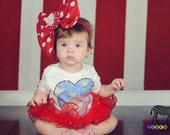 Custom Boutique Rhinestone Heart Onepiece With Tutu Red White Blue 4th of JulyGirls clothing Kids Available 0-3 months through 6-12 months