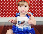Flag Heart Onesie with  Blue Organza Ruffle. Available in Sizes 0-3 months through  6-9 months