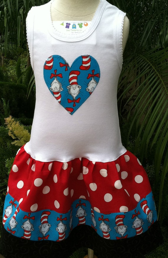 Cat in the Hat  Heart Dress Available 0-3 months through Size 6/8