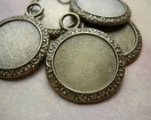 5  Frame Settings for Cabochons or Cameos - 21mm ROUND D.I.Y Altered Art Charms Antiqued Bronze finish